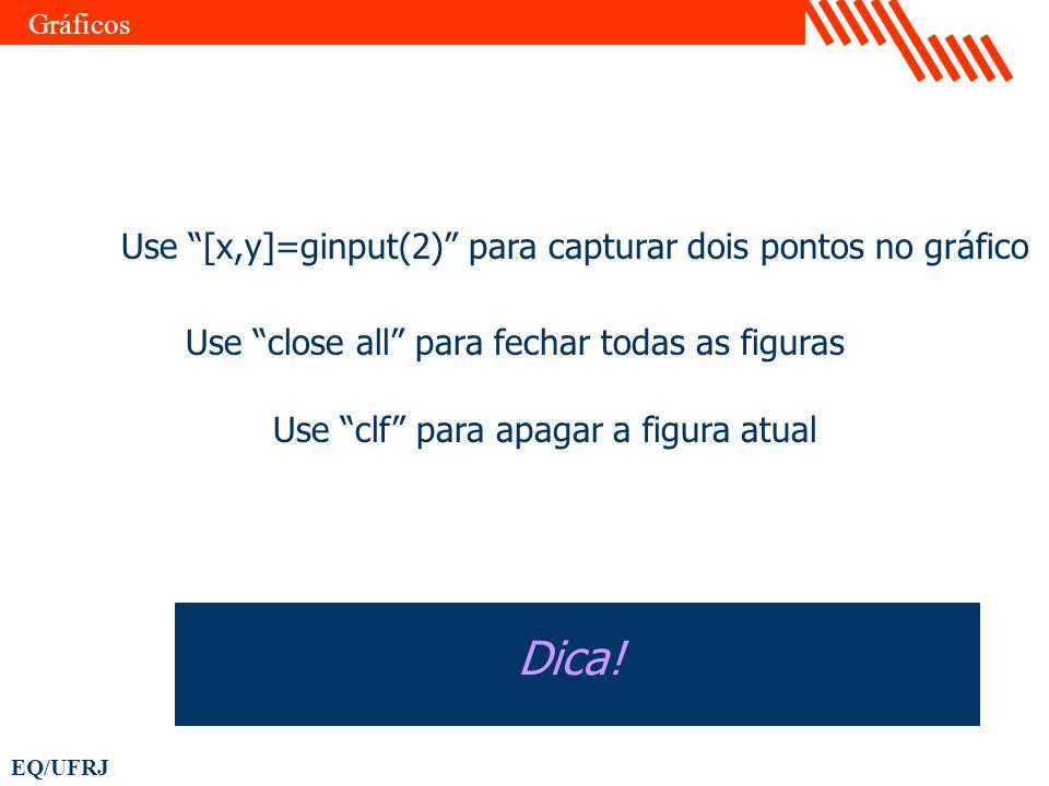 Dica! Use [x,y]=ginput(2) para capturar dois pontos no gráfico
